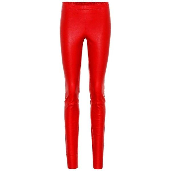 Stouls Jo Leather Leggings (106.335 RUB) ❤ liked on Polyvore featuring pants, leggings, red, skinny, trousers, red leather leggings, skinny leather pants, real leather leggings, skinny leg pants and red trousers