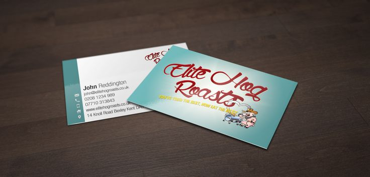 Elite Hog Roasts business cards. Material : 400gsm Silk Coated, Lamination - front : Matt. We're very happy with these, job well done.