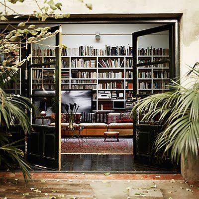 Books + leather sofa