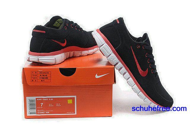 Damen Nike Free 3.0 V2 Anti -Pelz-Schuhe Schwarz Rot