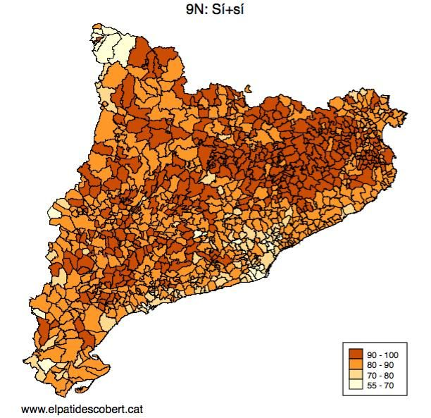 La geografia del Sí-Sí, municipi a municipi #9N Més dades i anàlisi, aviat, a http://www.elpatidescobert.cat