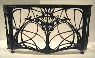 Art Nouveau wrought iron fireplace screen