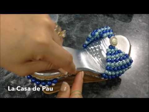 sandalias decoradas con Perlas.  parte 1