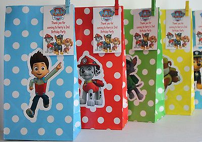 Personalised Paw Patrol Birthday Gift Treat Loot Party Bags