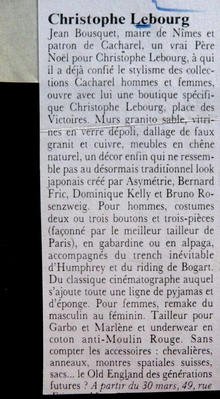 CACHAREL & LEBOURG 1986