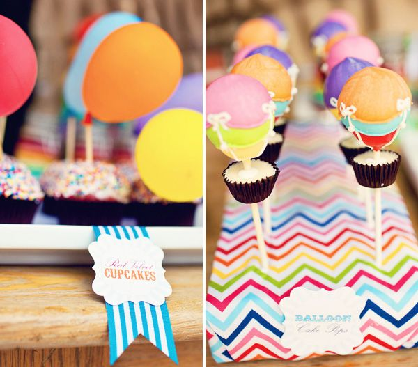 Rainbow Hot Air Balloon Birthday Party: those cake pops are SO CUTE.