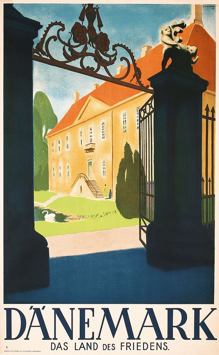 Old Original 1930s Denmark Travel Poster Plakat