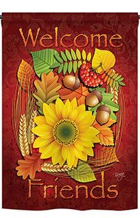 Welcome Friends Fall 2-Sided Vertical Flag