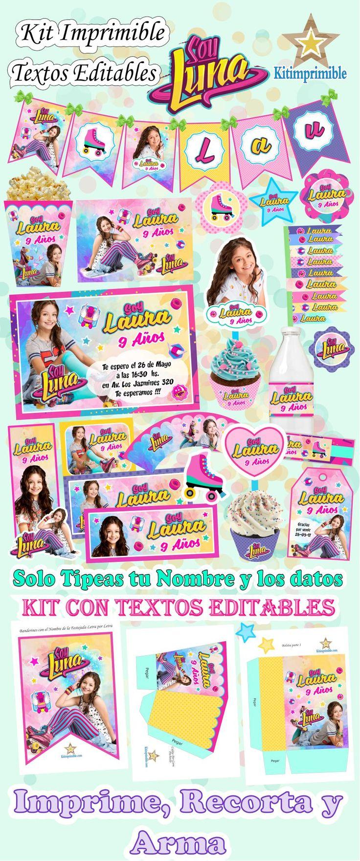 Kit Imprimible Soy Luna + Candy Bar Fiesta Textos Editables - $ 29.500