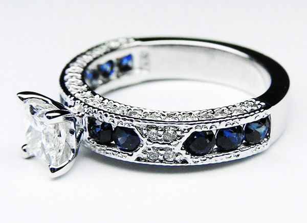 Princess Cut Diamond Vintage Engagement Ring with Blue-Sapphire Accents <3 beautiful!