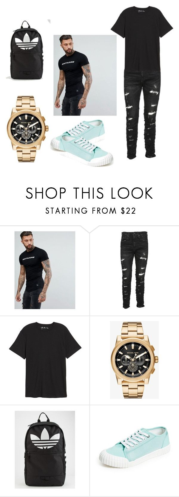 """Look"" by miloni-jhaveri ❤ liked on Polyvore featuring Sixth June, R13, Public Opinion, Michael Kors, adidas, men's fashion and menswear"