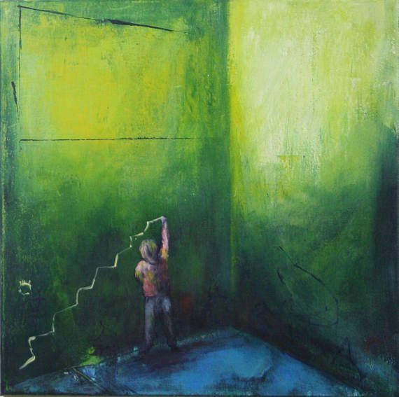 ambition painting abstract acrylic green red blue