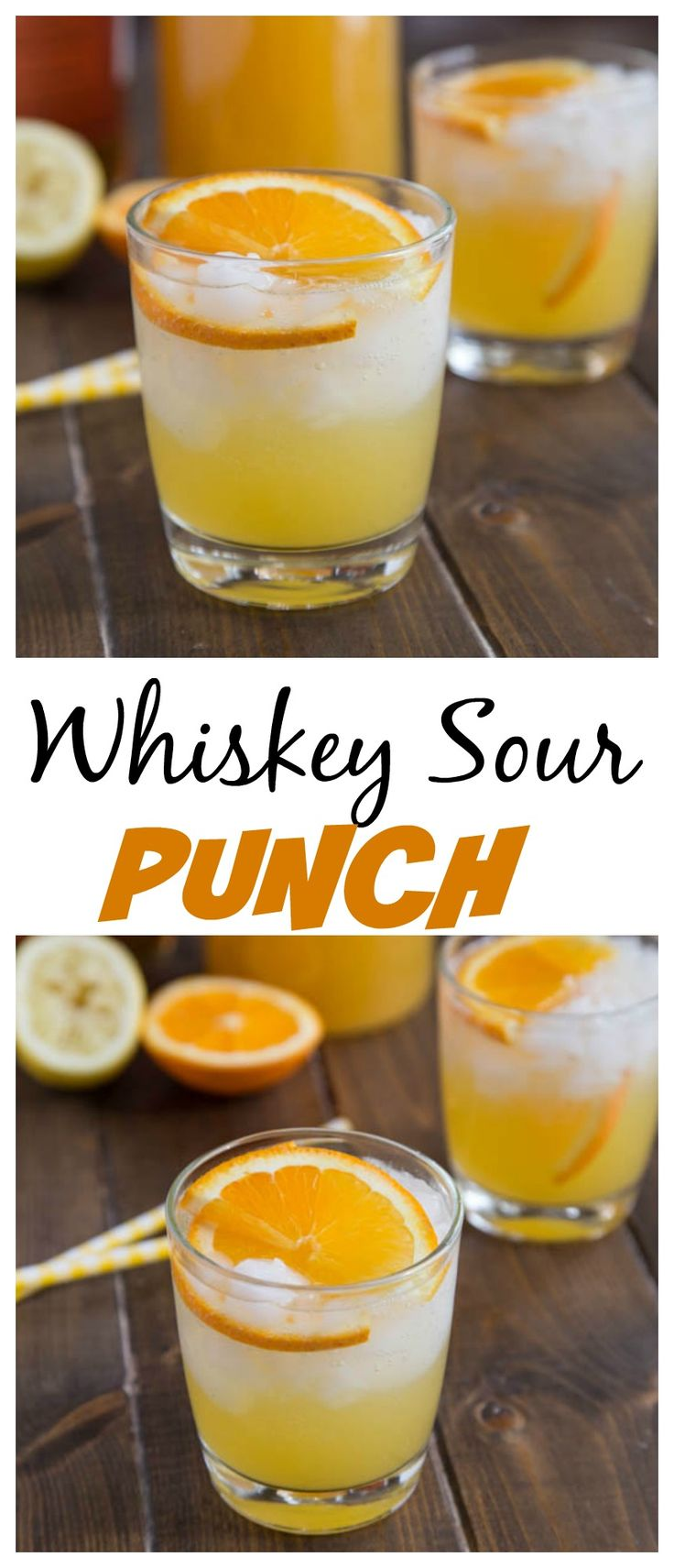 Whiskey Sour Punch - orange juice, lemon juice and bourbon some together for a fizzy and fun punch.  Great for get togethers, and you can even make it ahead!