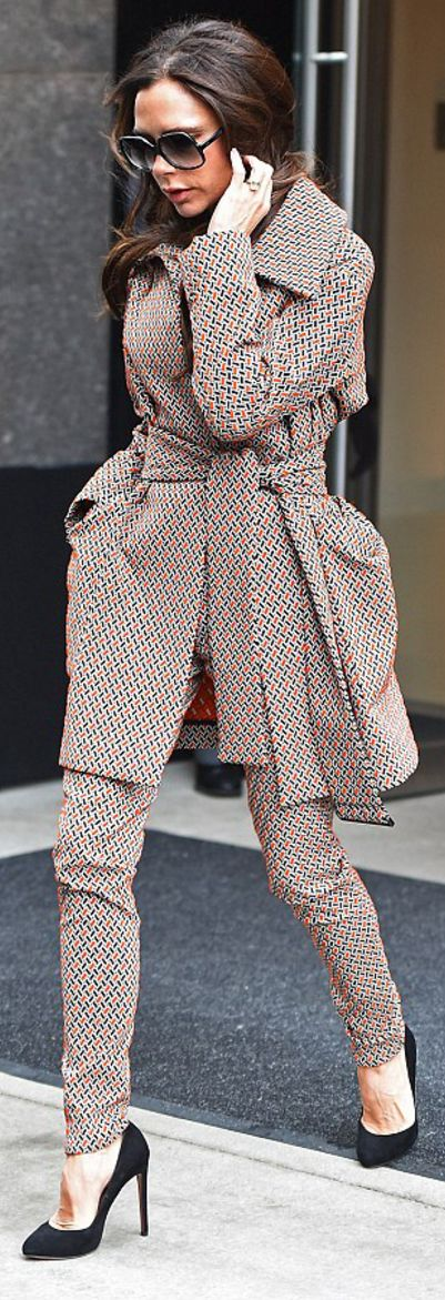 Victoria Beckham: Sunglasses – Cutler and Gross  jacket and pants – Victoria Beckham Collection