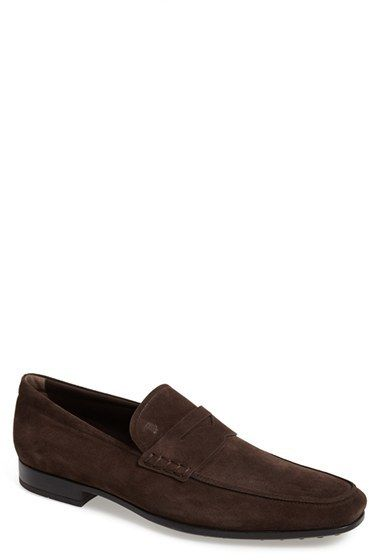 Tod's 'Mocassino' Suede Penny Loafer (Men), A classic keeper strap tops a sharp Italian loafer crafted in soft suede.