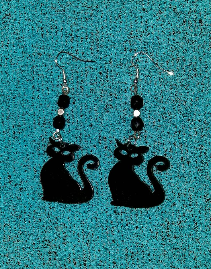 Black cats earings Hand made by Polesse