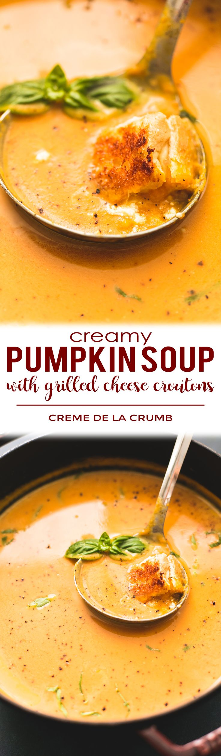 Creamy Pumpkin Soup with Grilled Cheese Croutons will leave you craving more all season long | lecremedelacrumb.com