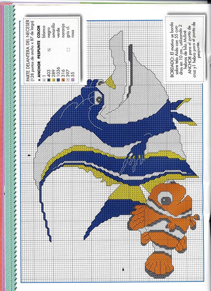 Рыбки из «В поисках Немо» | Вышивка крестиком