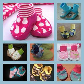 Freebook / Nähanleitung / Schnittmuster / Tutorial zum selber nähen von Hausschuhen / Puschen / Babyschuhen / Babyschüchen / Schühchen Free instructions and pattern for sewing baby shoes (in German)