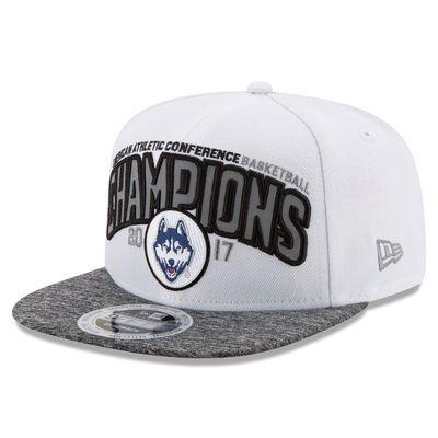 Men's New Era White UConn Huskies 2017 AAC Women's Basketball Tournament Champions Locker Room Adjustable Hat