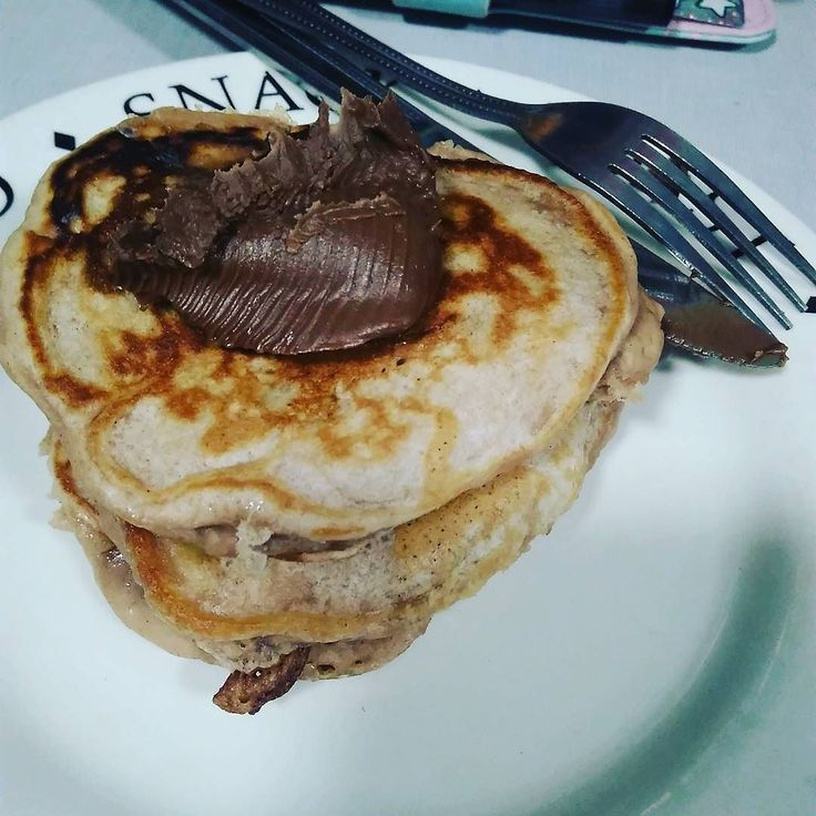 Sort-of #vegan #pancakes from the #thugkitchen but topped with chocolate spread because old habits die hard.
