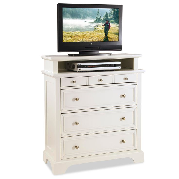 Place this white media chest in nearly any room in your home. The four large drawers make it versatile so you can use it for your electronics or other items. Constructed of Asian hardwood, this chest is a durable piece for your space.