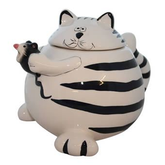 Very Round Black & White Striped Cat Holding Mouse Cookie Jar.