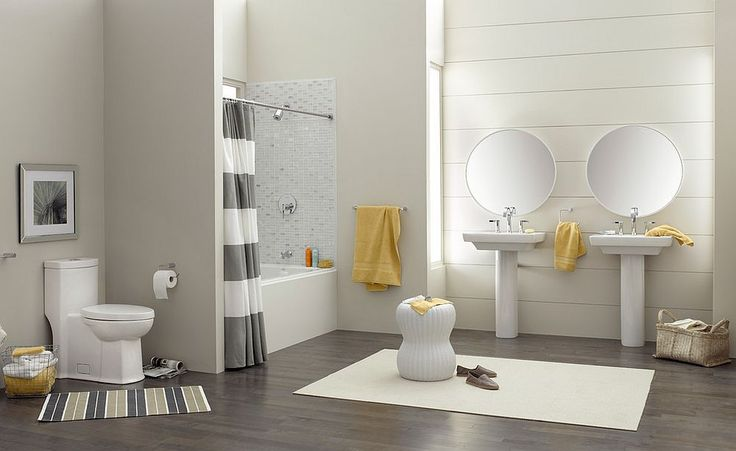 Refined contemporary bathroom in gray with pops of yellow