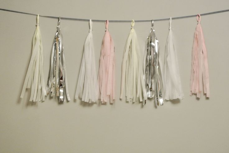 Cream, Silver, White, Pink Tassel Garland. Winter Onederland Decor. Winter Onederland First Birthday. Silver and Pink Bridal Shower by PaperRabbit87 on Etsy