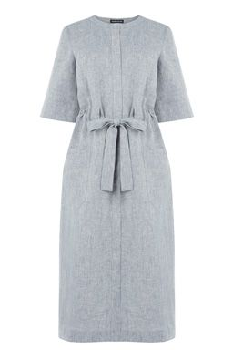This on-trend midi dress is constructed from linen and features a collarless neckline, concealed button through front, 3/4 length sleeves, belt loops and a self-tie detail. Length of top, from shoulder seam to hem, 120cm approx. Height of model shown: 5ft 10 inches/178cm. Model wears: UK size 10.Fabric:Main: 55.0% Linen