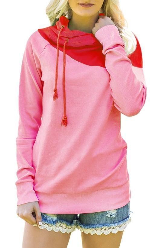 Fashion Cute Red Duotone Chic Hooded Sweatshirt ChicLike.com