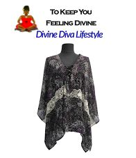 Breezy and Beautiful Chiffon Kaftan with Lace. Elegant Plus-Size Resort Wear Now available online at DivineDivaLifestyle.com