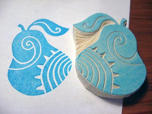Hand-carved pear stamp - inspiration for stamp carving - via Flickr