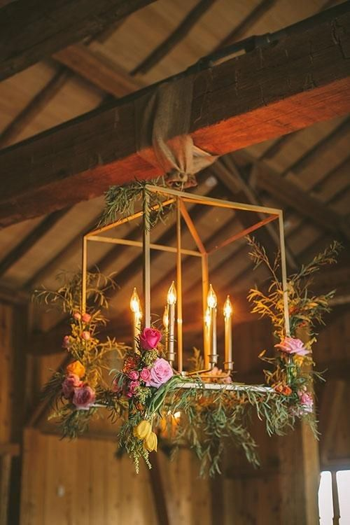 Colorful Summer Wedding in Colorado, Gold Chandeliers with Flowers and Candles