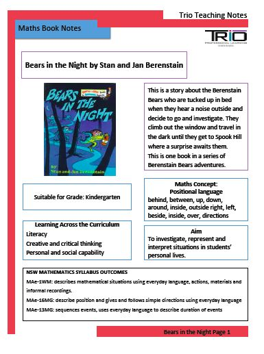 Lesson for Kindergarten to teach positional language - uses Berenstain book, Bears in the Night