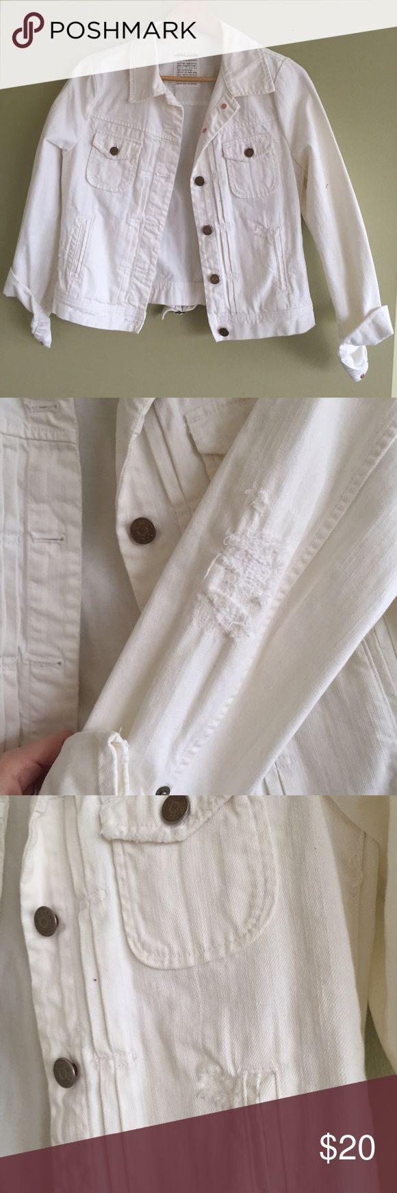 J Crew White denim Jean jacket NWOT distressed white Jean jacket from jcrew outlet, that's why the tag size is marked. Comfy and cute for spring ! J.Crew Factory Jackets & Coats Jean Jackets