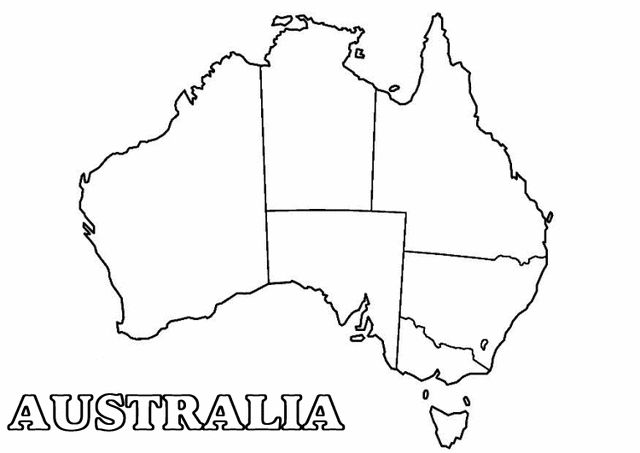 Map of Australia coloring page - Free Printable Coloring Pages