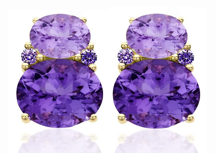 Kiki Classic Large Lavender Amethyst and Purple Amethyst Double Oval Studs.