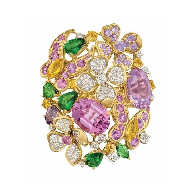 The Extraordinary Violet Spinel (5.58ct) Ring with Citrine, Tsavorite Garnet, Sapphire and Diamond Flowers and Butterflies #margotmckinney