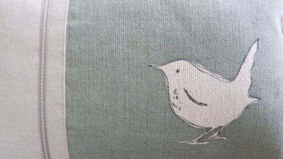 hand printed little eau de nil wren cushion by helkatdesign, $66.00