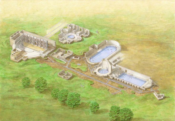 Ipotesi ricostruttiva degli edifici di età romana (disegno di Fabio Maria Fedele)