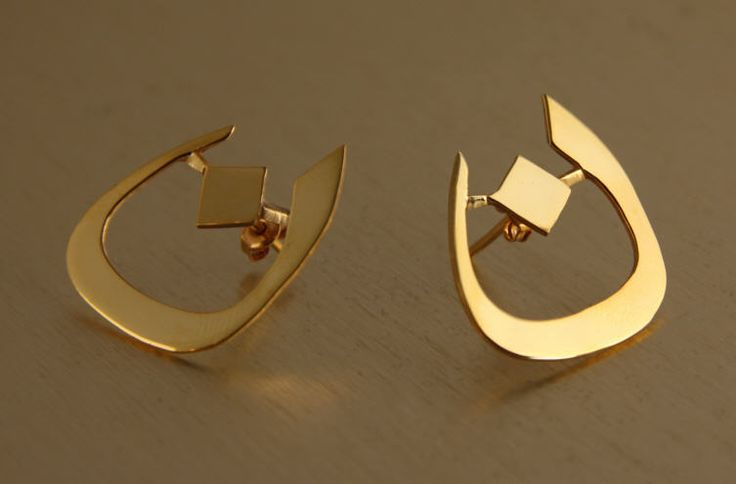 Earrings with Arabic Initials  Gold or Silver  Made for any name  Zahras Jewellery  http://perfume.zahras.com  info@zahras.com