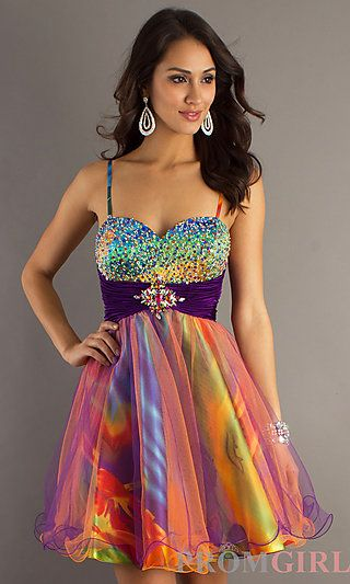 Short Print Homecoming Dress by Dave and Johnny at PromGirl.com