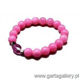 CANDY - Bransoletka z Różowych Jadeitów z Kryształem Swarovski