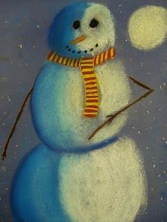snowmen at night - good lesson for shading 6th grade