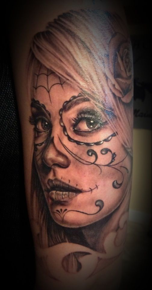 My sexy day of the dead tattoo by  Steve chambers out of halcyon tattoos westbrooke ME