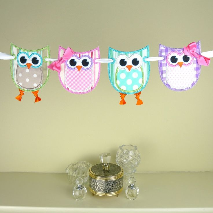 "Owl Banner ITH project Machine Embroidery Design Applique Pattern in 3 sizes 4"", 5"" and 6"" all done in-the-hoop.. $4.95, via Etsy."