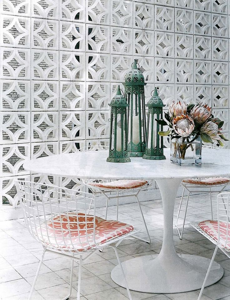I am all kinds of obsessed with breeze blocks right now. Hollow cement blocks have been commonly used as essential building materials for the load-bearing walls of structures since the 1930s. It wasn't until the 50s and 60s that they became more decorative and used most often asornamental screens.