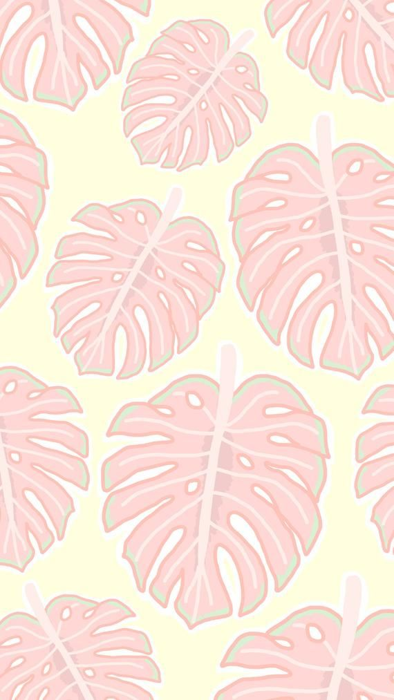 Iphone Wallpaper Tropical Leaf Yellow Pink Pink Wallpaper Iphone Iphone Wallpaper Tropical Wallpaper Pink And Blue