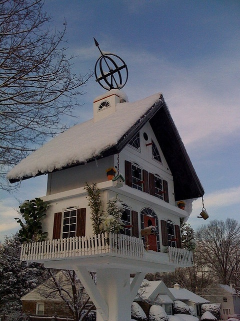 Birdhouse mansion....such details///Can I get this built in a regular size house...and I will move in!
